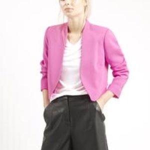 Topshop bright pink crepe cropped blazer